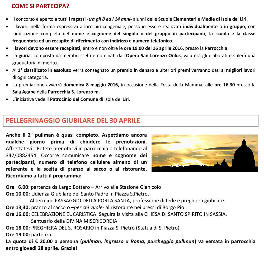 San Lorenzo Martire ® - 2016 04 08 - Avvisi Echi di Vita Foglio DUE