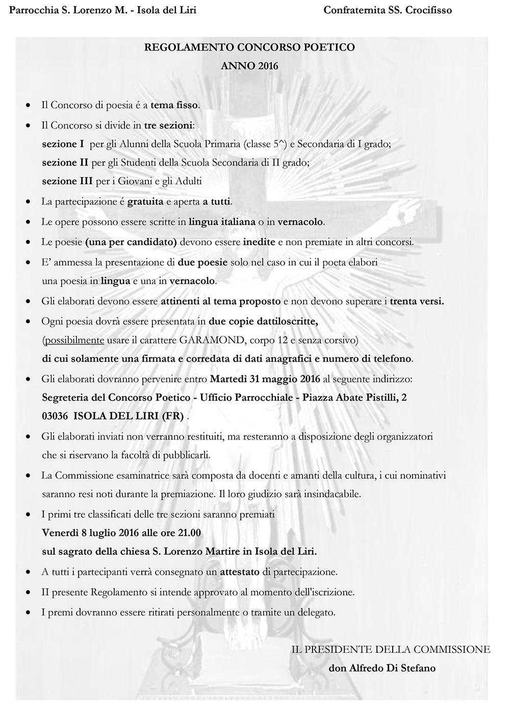 San Lorenzo Martire ® - 2016 04 19 - Volantino Concorso Crocifisso - Regolmento