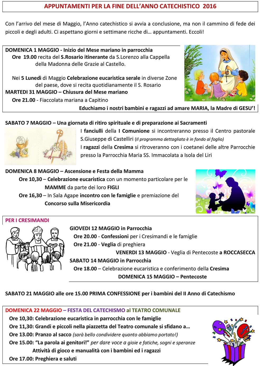 San Lorenzo Martire ® - 2016 04 24 - APPUNTAMENTI fine catechismo 2016 - 1